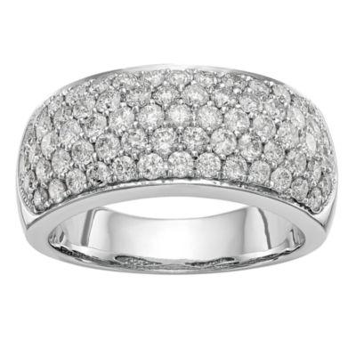 Womens 9M 1 5/8 CT. T.W. White Diamond 14K White Gold Wedding Band