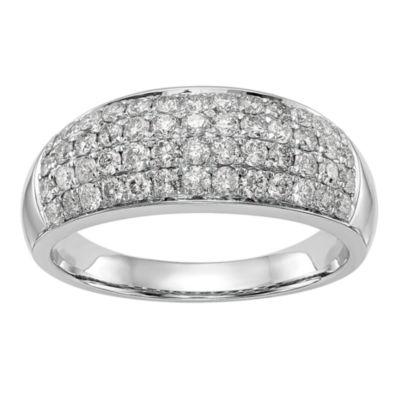 Womens 7.5mm 1 CT. T.W. White Diamond 14K White Gold Wedding Band