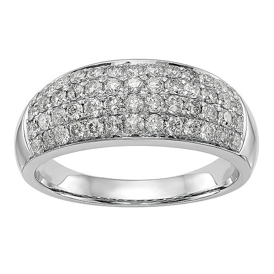 Womens 7.5MM 1 CT. T.W. Genuine White Diamond 14K White Gold Wedding Band