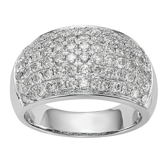 Womens 11M 1 3/4 CT. T.W. Genuine White Diamond 14K White Gold Wedding Band