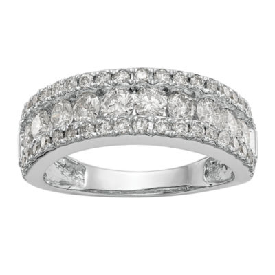 Womens 7mm 1 1/2 CT. T.W. White Diamond 14K White Gold Wedding Band