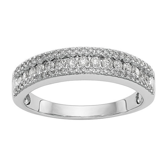 Womens 4.5MM 1/2 CT. T.W. Genuine White Diamond 14K White Gold Wedding Band