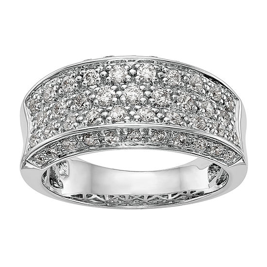 Womens 2.5MM 1/10 CT. T.W. Genuine White Diamond 14K White Gold Wedding Band
