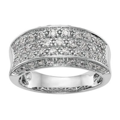 Womens 10mm 7/8 CT. T.W. White Diamond 14K White Gold Wedding Band