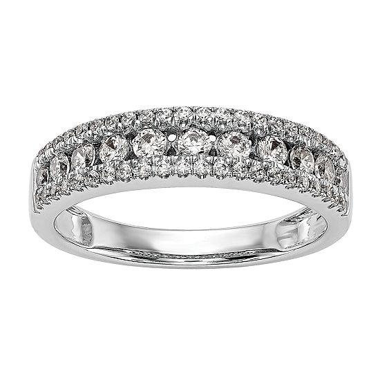 Womens 5MM 5/8 CT. T.W. Genuine White Diamond 14K White Gold Wedding Band