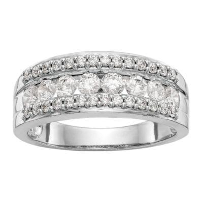 Womens 2.5mm 7/8 CT. T.W. White Diamond 14K White Gold Wedding Band