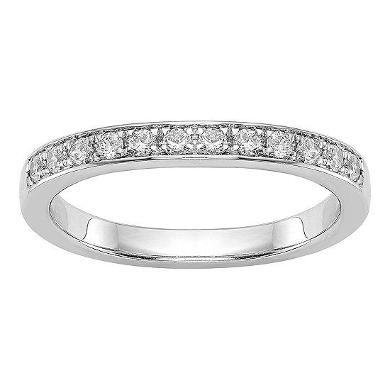 Womens 2.5MM 1/8 CT. T.W. Genuine White Diamond 14K White Gold Wedding Band