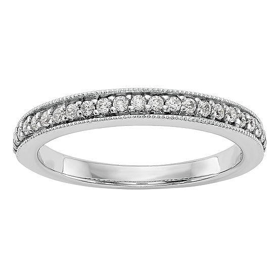 Womens 3MM 1/6 CT. T.W. Genuine White Diamond 14K White Gold Wedding Band