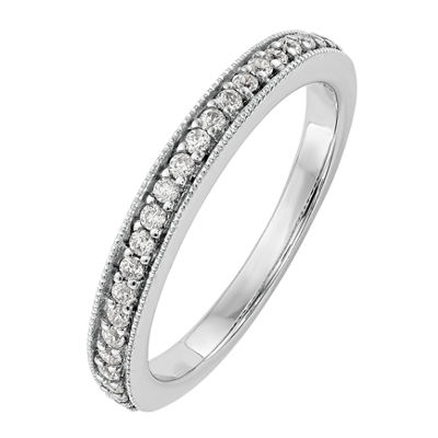 Womens 3.5mm 1/4 CT. T.W. White Diamond 14K White Gold Wedding Band
