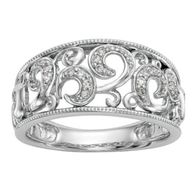 Womens 3mm 1/6 CT. T.W. White Diamond 14K White Gold Wedding Band