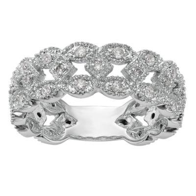 Womens 7mm 1/2 CT. T.W. White Diamond 14K White Gold Wedding Band