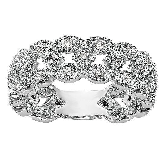 Womens 7MM 1/2 CT. T.W. Genuine White Diamond 14K White Gold Wedding Band