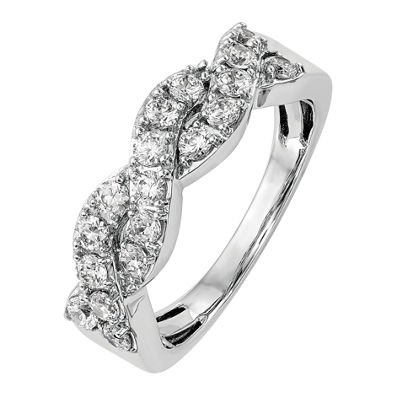 Womens 2mm 3/4 CT. T.W. White Diamond 14K White Gold Wedding Band
