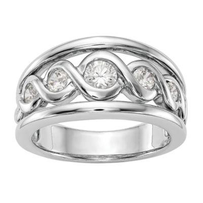 Womens 10.5mm 1/2 CT. T.W. White Diamond 14K White Gold Wedding Band