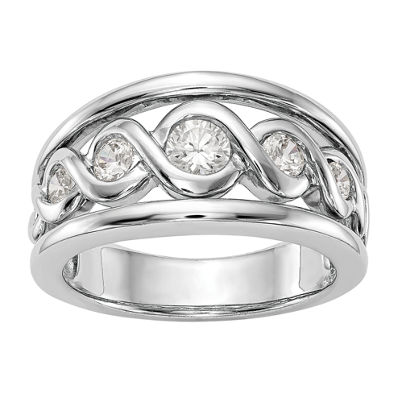 Womens 10.5mm 1/2 CT. T.W. White Diamond 14K White Gold Wedding Band