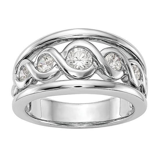 Womens 105mm 1 2 Ct Tw Genuine White Diamond 14k White Gold Wedding Band