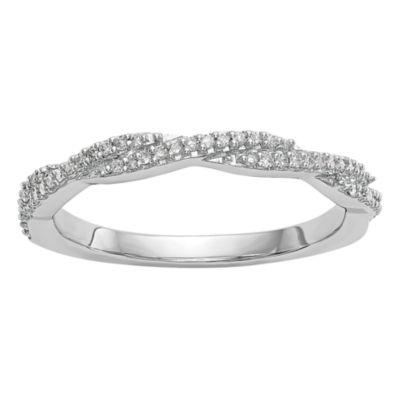 Womens 2mm 1/3 CT. T.W. White Diamond 14K White Gold Wedding Band