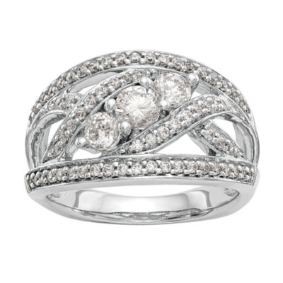 Womens 13mm 1 CT. T.W. White Diamond 14K White Gold Wedding Band