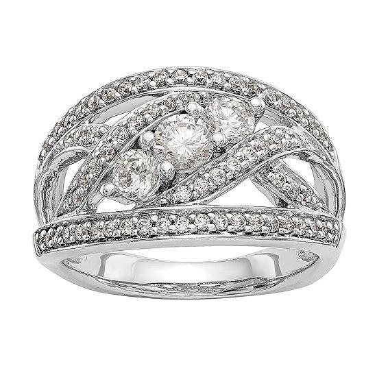 Womens 13MM 1 CT. T.W. Genuine White Diamond 14K White Gold Wedding Band