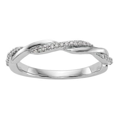 Womens 3mm 1/8 CT. T.W. White Diamond 14K White Gold Wedding Band