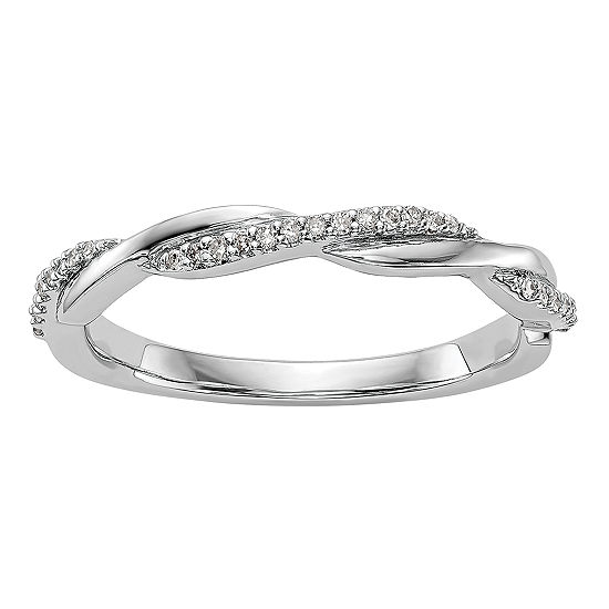 Womens 3MM 1/8 CT. T.W. Genuine White Diamond 14K White Gold Wedding Band