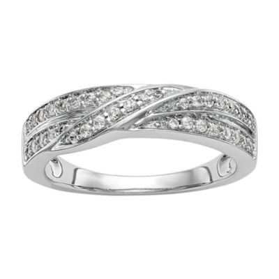 Womens 5mm 1/4 CT. T.W. White Diamond 14K White Gold Wedding Band