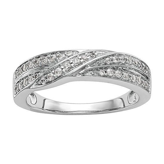 Womens 5MM 1/4 CT. T.W. Genuine White Diamond 14K White Gold Wedding Band