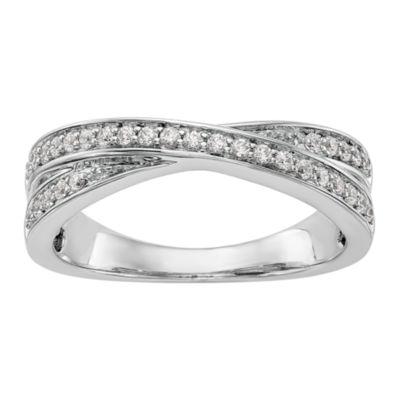 Womens 3mm 1/4 CT. T.W. White Diamond 14K White Gold Wedding Band