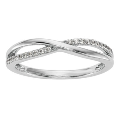 Womens 2mm 1/10 CT. T.W. White Diamond 14K White Gold Wedding Band