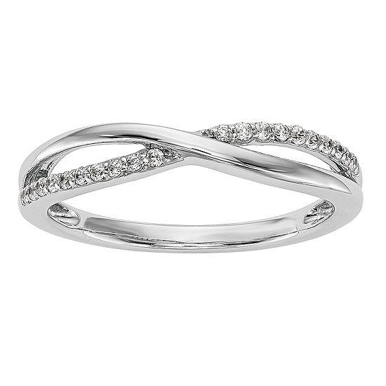 Womens 2MM 1/10 CT. T.W. Genuine White Diamond 14K White Gold Wedding Band