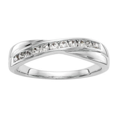 Womens 3mm 1/5 CT. T.W. White Diamond 14K White Gold Wedding Band