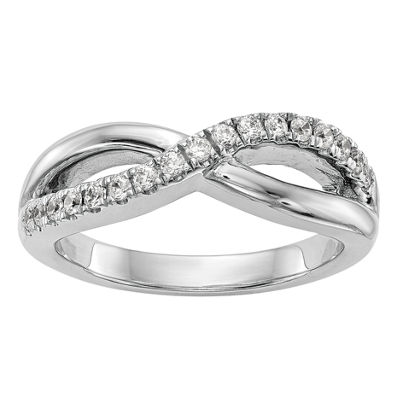 Womens 3mm 3/8 CT. T.W. White Diamond 14K White Gold Wedding Band