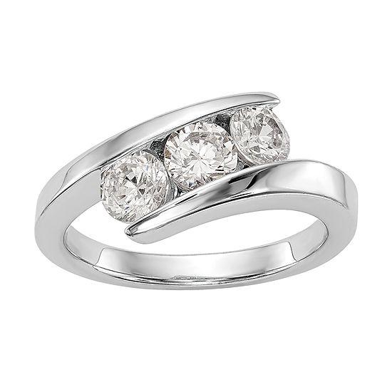 Love Lives Forever 7.5MM 1 CT. T.W. Genuine White Diamond 14K White Gold Wedding Band