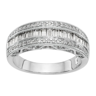 Womens 7mm 3/4 CT. T.W. White Diamond 14K White Gold Wedding Band