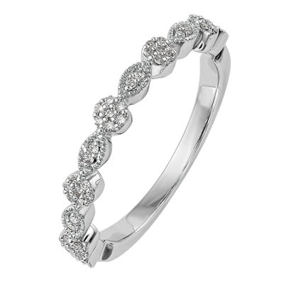 Womens 3mm 1/6 CT. T.W. White Diamond 14K White Gold Wedding Band
