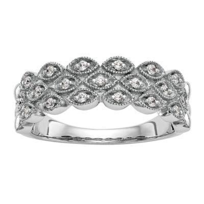 Womens 6.5mm 1/5 CT. T.W. White Diamond 14K White Gold Wedding Band