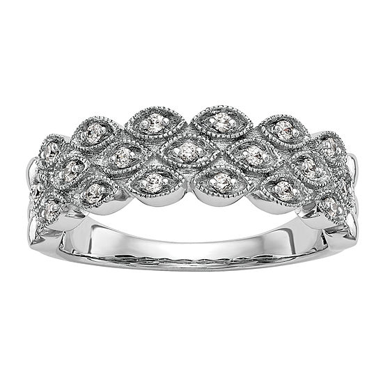Womens 6.5MM 1/5 CT. T.W. Genuine White Diamond 14K White Gold Wedding Band