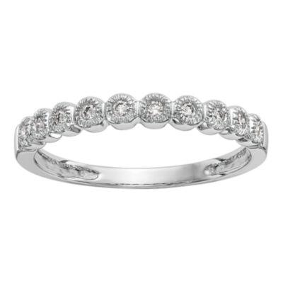 Womens 2.5mm 1/10 CT. T.W. White Diamond 14K White Gold Wedding Band