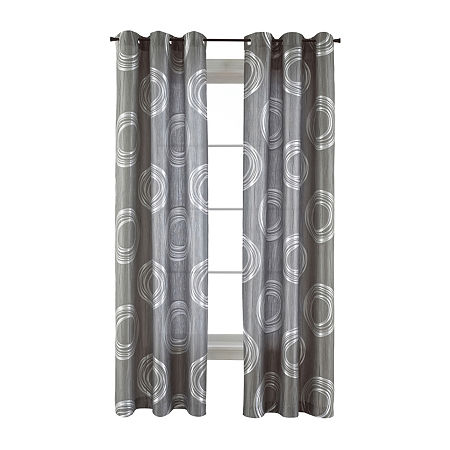 JCPenney Home Focus Light-Filtering Grommet-Top Single Curtain Panel, One Size , Gray
