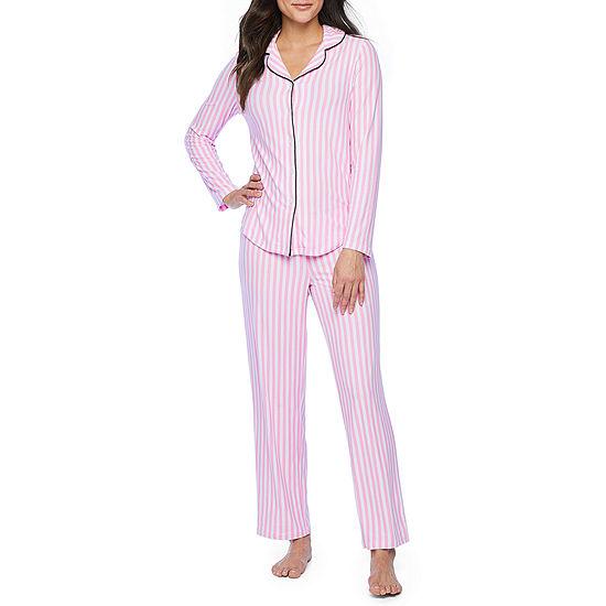 Pj Couture Soft And Comfy Notch Womens Pant Pajama Set 2-pc. Long Sleeve