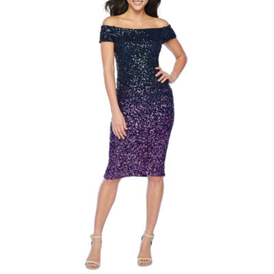 Premier Amour Off The Shoulder Ombre Sequin Sheath Dress