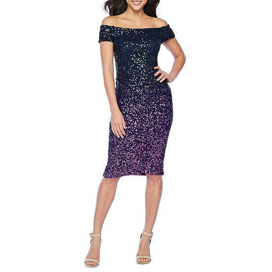 Premier Amour Off The Shoulder Ombre Sequin Sheath Dress