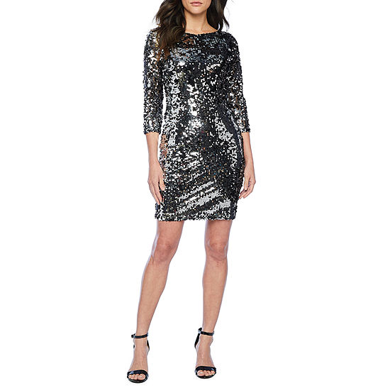 Premier Amour 3/4 Sleeve Two-Way Sequin Sheath Dress