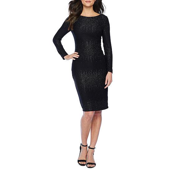 Premier Amour Long Sleeve Glitter Knit Sheath Dress