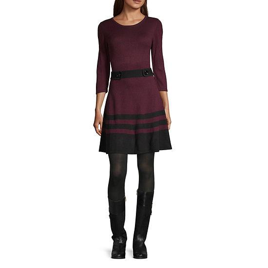 Byer California-Juniors 3/4 Sleeve Sweater Dress