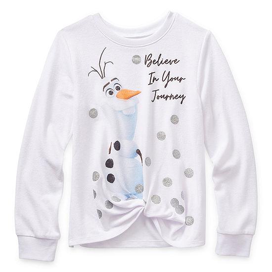Disney 2 Girls Crew Neck Long Sleeve Frozen Graphic T-Shirt - Big Kid