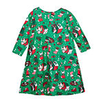 by&by girl Girls Long Sleeve Fitted Sleeve Holiday A-Line Dress - Big Kid