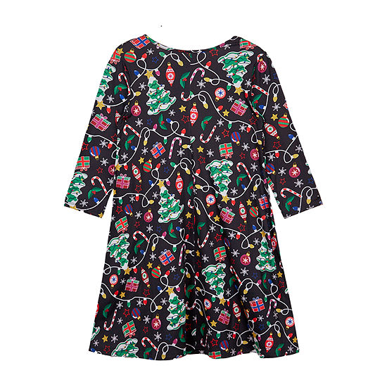 By & By Girls Long Sleeve Sleeve Holiday A-Line Dress - Big Kid