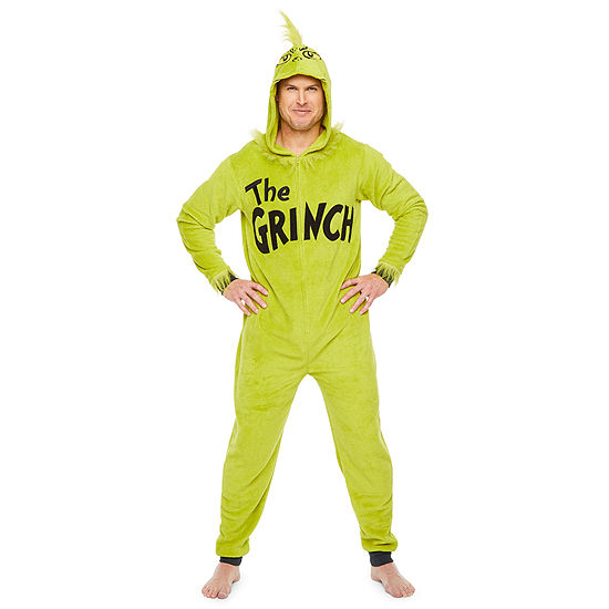 Mens Plush One Piece Pajama Long Sleeve Grinch