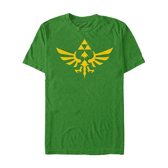 Slim Triforce Hyrule Crest Logo Mens Crew Neck Short Sleeve Zelda Graphic T-Shirt